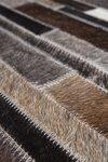 Patchwork lederen vloerkleed grijs bruin