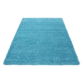 Turquoise hoogpolig vloerkleed Fair 4000/AY Turquoise