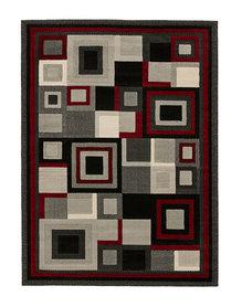 Action vloerkleed kleur zwart rood 3222