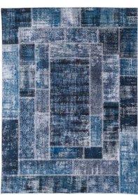 Vloerkleed Patch Plus kleur blauw