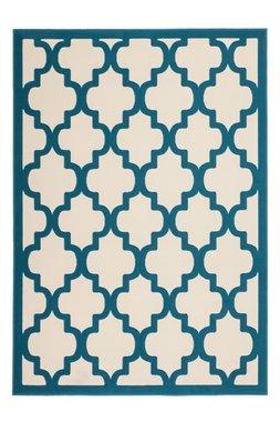 Modern vloerkleed Dolf Ivoor Turquoise