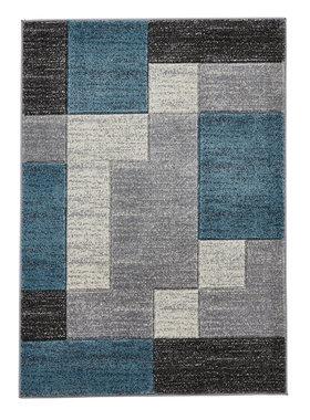 Vloerkleed Madras kleur grijs blauw A0221