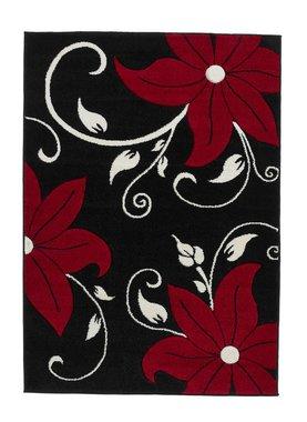 Vloerkleed aanbieding Victoria kleur zwart rood OC15