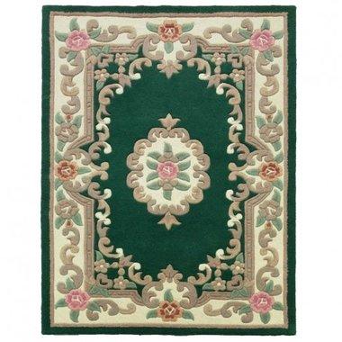 Klassiek wollen vloerkleed Prime kleur groen