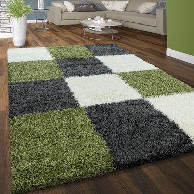 Hoogpolig vloerkleed Dorin 910 kleur grijs groen